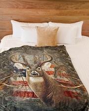 "Deer Flag Large Fleece Blanket - 60"" x 80"" aos-coral-fleece-blanket-60x80-lifestyle-front-02"