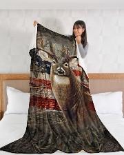 "Deer Flag Large Fleece Blanket - 60"" x 80"" aos-coral-fleece-blanket-60x80-lifestyle-front-11"