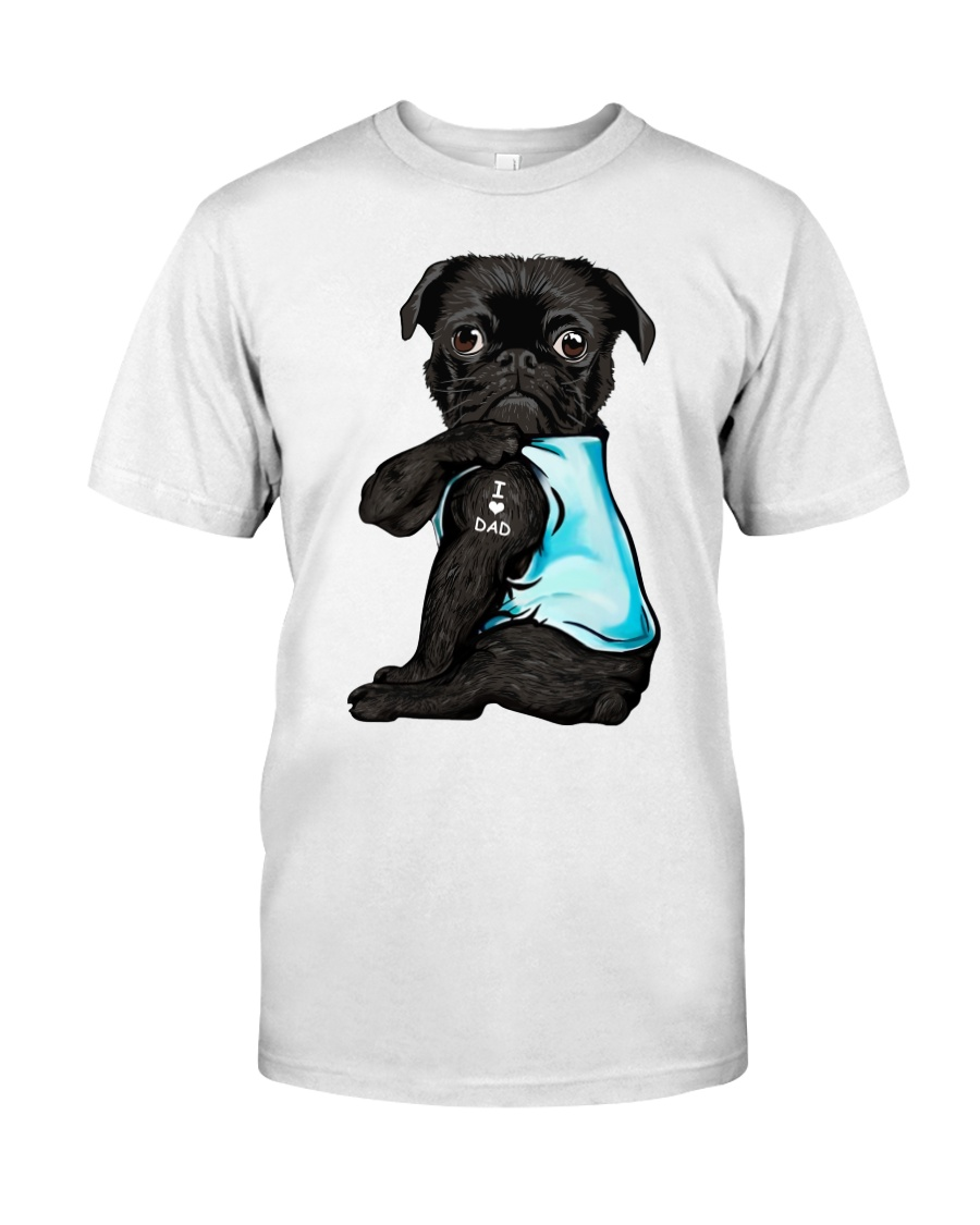 Black Pug I Love Dad Classic T-Shirt
