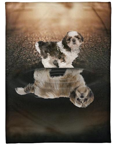 Shih Tzu Funny Blanket Reflection Graphic Design
