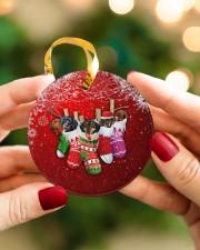 Dachshund Christmas Shocks Circle ornament - single (porcelain) aos-circle-ornament-single-porcelain-lifestyles-08