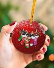 Dachshund Christmas Shocks Circle ornament - single (porcelain) aos-circle-ornament-single-porcelain-lifestyles-09