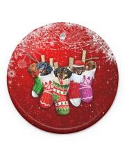 Dachshund Christmas Shocks Circle ornament - single (porcelain) front