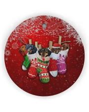 Dachshund Christmas Shocks Circle ornament - single (wood) thumbnail