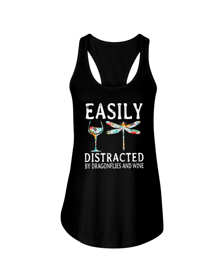 Easily Distracted By Dragonflies And Wine Ladies Flowy Tank