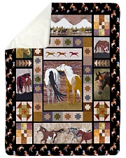 "Horse Funny Blanket Native Graphic Design Large Sherpa Fleece Blanket - 60"" x 80"" thumbnail"