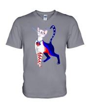 Cat Flag America V-Neck T-Shirt thumbnail