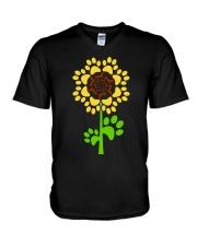 Dachshund Sunflower V-Neck T-Shirt thumbnail