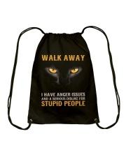 Cat Walk Away and Dislike for Stupid People Drawstring Bag thumbnail