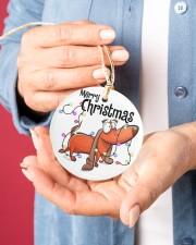 Dachshund Merry Christmas Circle ornament - single (porcelain) aos-circle-ornament-single-porcelain-lifestyles-01