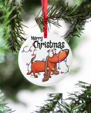 Dachshund Merry Christmas Circle ornament - single (porcelain) aos-circle-ornament-single-porcelain-lifestyles-07