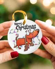 Dachshund Merry Christmas Circle ornament - single (porcelain) aos-circle-ornament-single-porcelain-lifestyles-08
