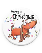 Dachshund Merry Christmas Circle ornament - single (porcelain) front