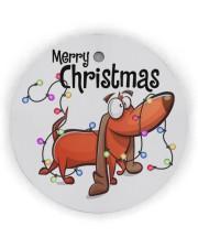 Dachshund Merry Christmas Circle ornament - single (wood) thumbnail