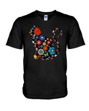 CAT FLOWER V-Neck T-Shirt thumbnail