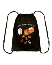 Horse Anti Depressants Drawstring Bag thumbnail