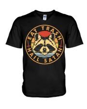 Raccoon Eat Trash Hail Satan V-Neck T-Shirt thumbnail