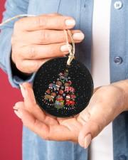 Dachshund Christmas Tree Circle ornament - single (porcelain) aos-circle-ornament-single-porcelain-lifestyles-01