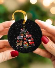 Dachshund Christmas Tree Circle ornament - single (porcelain) aos-circle-ornament-single-porcelain-lifestyles-08