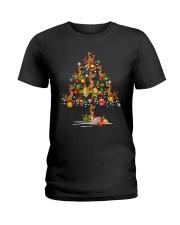 German Shepherd Christmas Tree Ladies T-Shirt thumbnail