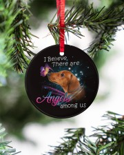 Dachshund I Believe There Are Angles Circle ornament - single (porcelain) aos-circle-ornament-single-porcelain-lifestyles-07