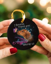 Dachshund I Believe There Are Angles Circle ornament - single (porcelain) aos-circle-ornament-single-porcelain-lifestyles-08
