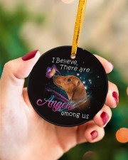 Dachshund I Believe There Are Angles Circle ornament - single (porcelain) aos-circle-ornament-single-porcelain-lifestyles-09