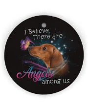 Dachshund I Believe There Are Angles Circle ornament - single (wood) thumbnail