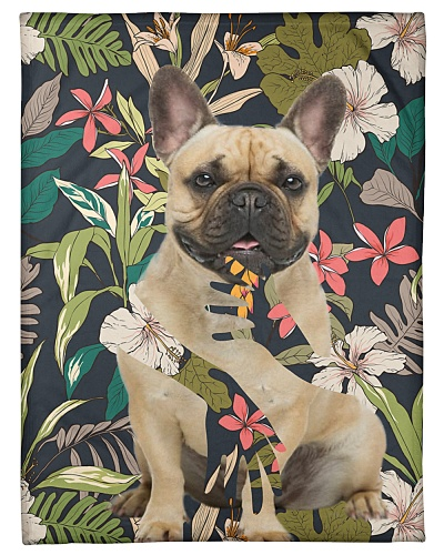 French Bulldog Funny Blanket Flower Graphic Design