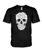 Cat Skull V-Neck T-Shirt thumbnail