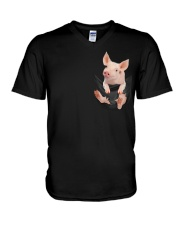 Pig In Pocket V-Neck T-Shirt thumbnail
