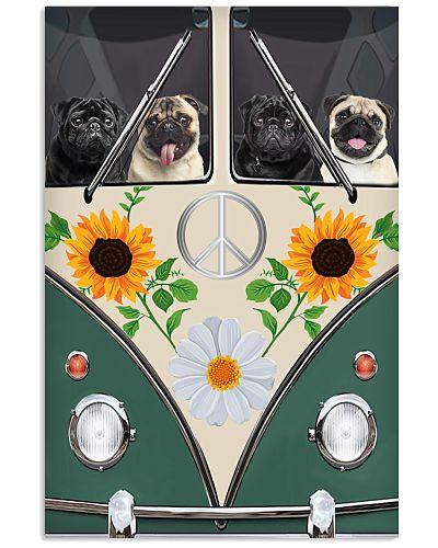 Pug Hippie Bus Poster