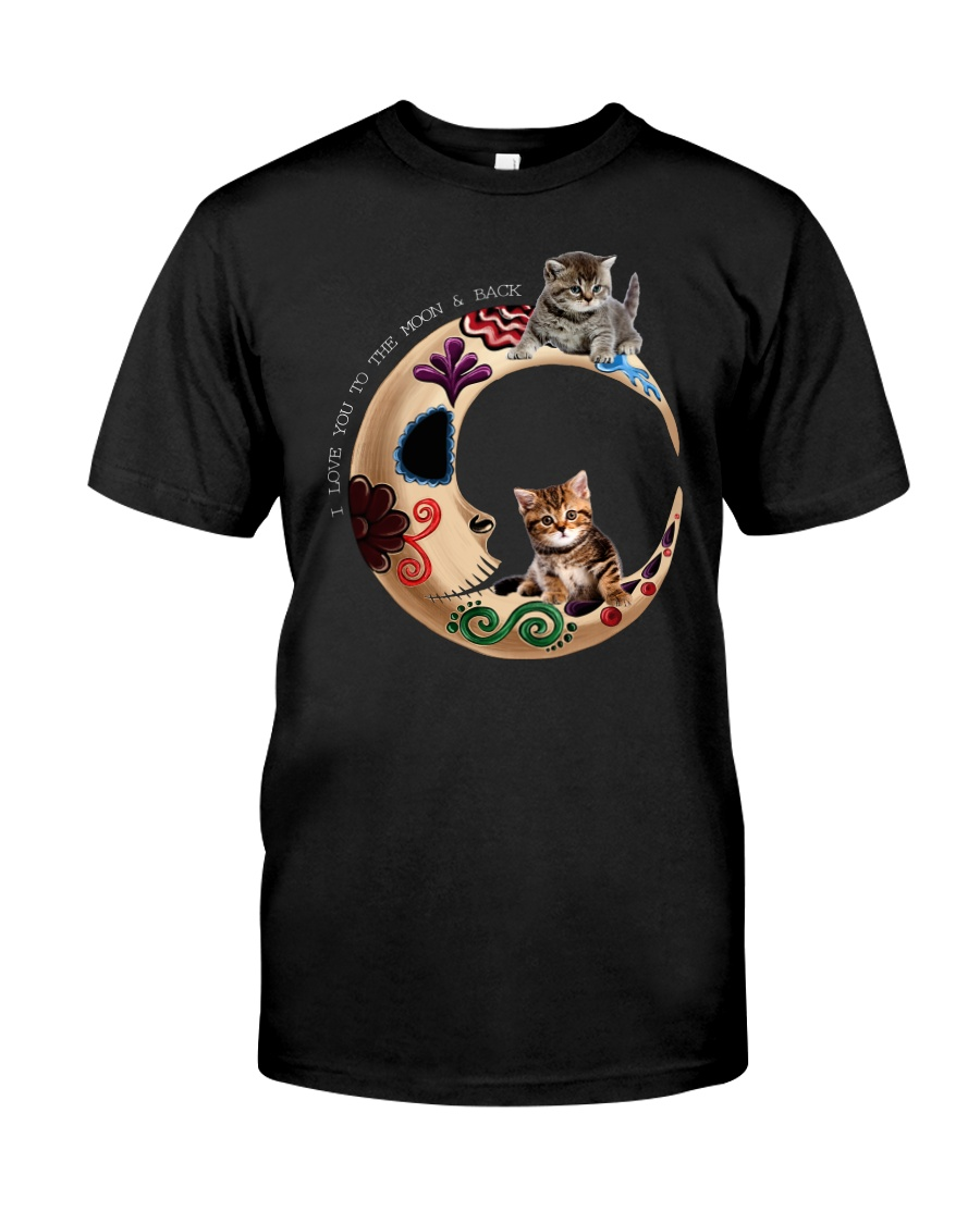 Cat And The Moon Classic T-Shirt