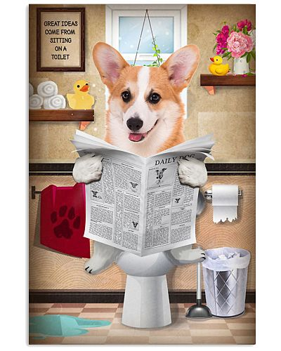 Corgi Bathroom Poster