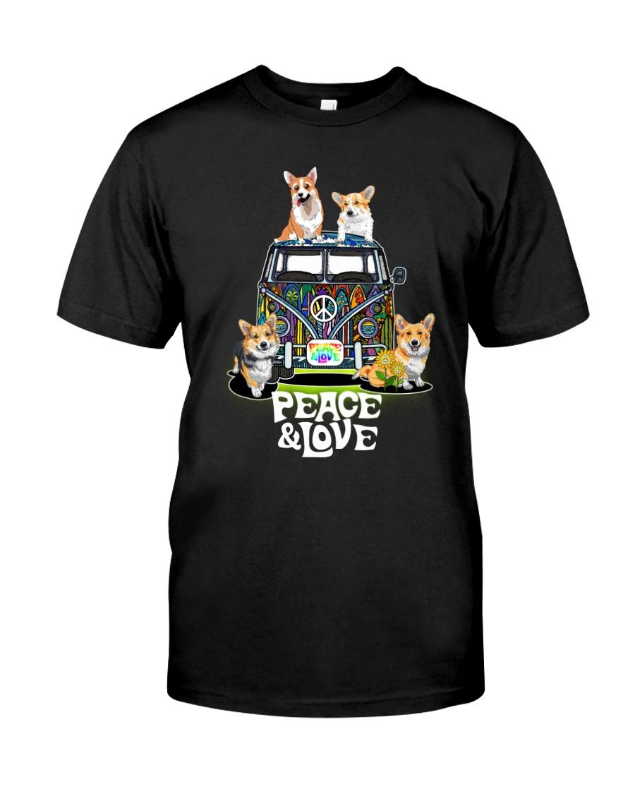 Pembroke Welsh Corgi - Peace and Love Classic T-Shirt