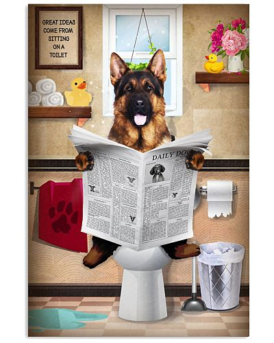 German Shepherd Bathroom Poster