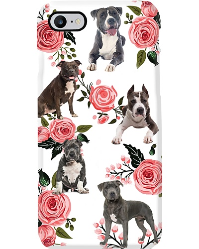 Pit Bull And Roses