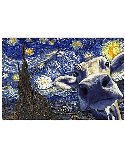 Cow Van Gogh Poster