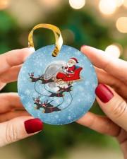 Dachshund Santa Clause Circle ornament - single (porcelain) aos-circle-ornament-single-porcelain-lifestyles-08