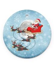 Dachshund Santa Clause Circle ornament - single (porcelain) front