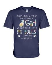 Pitbull Girl V-Neck T-Shirt thumbnail