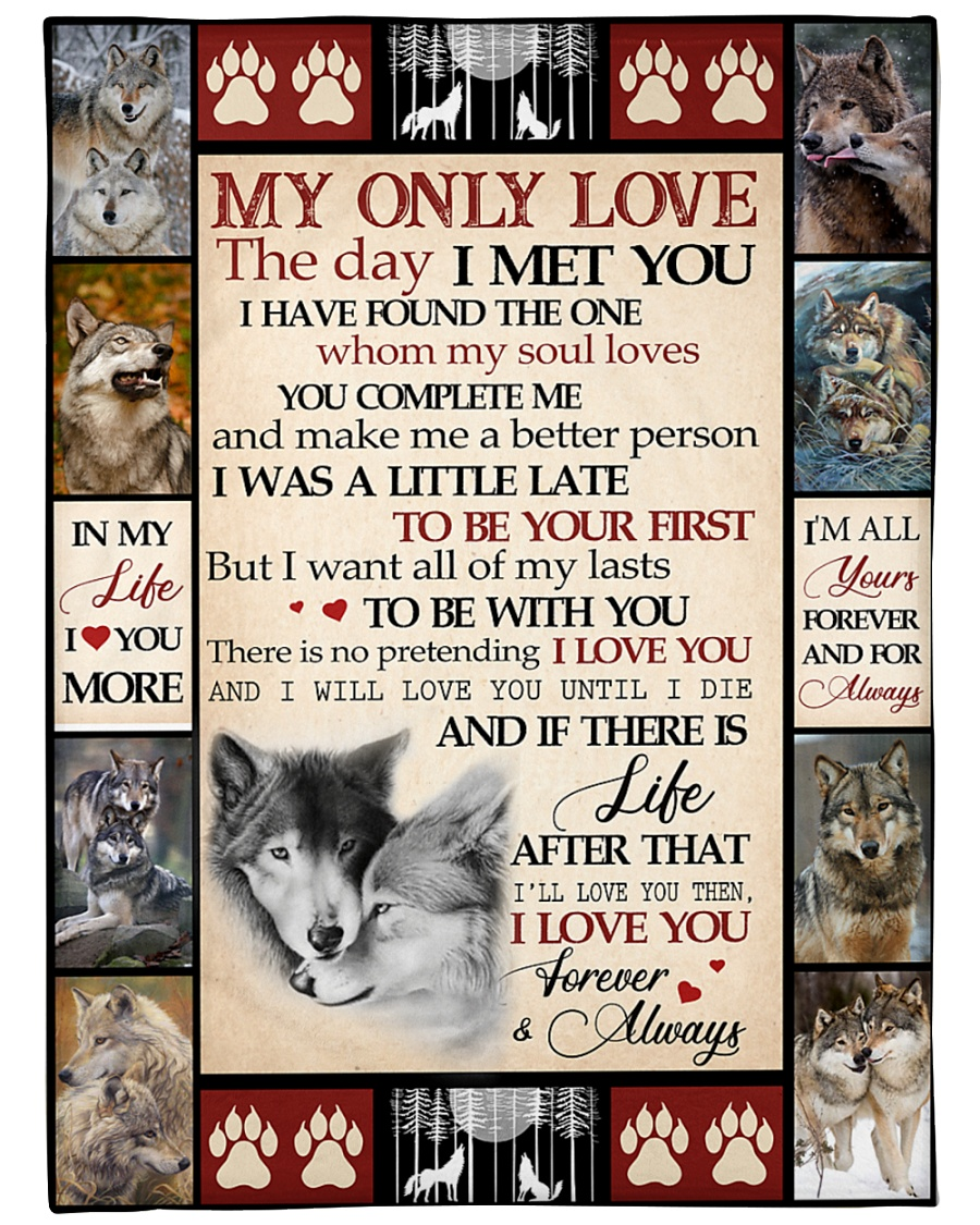 "Wolf Funny Blanket My Only Love Graphic Design Large Fleece Blanket - 60"" x 80"""