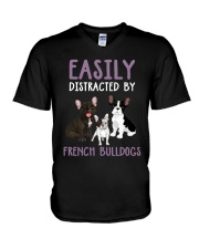 Easily Distracted By French BulldogS V-Neck T-Shirt thumbnail