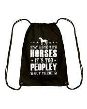 Stay Home With Horses Drawstring Bag thumbnail