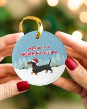 Dachshund Walking In A Wiener Wonderland Circle ornament - single (porcelain) aos-circle-ornament-single-porcelain-lifestyles-08
