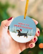 Dachshund Walking In A Wiener Wonderland Circle ornament - single (porcelain) aos-circle-ornament-single-porcelain-lifestyles-09