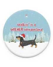 Dachshund Walking In A Wiener Wonderland Circle ornament - single (porcelain) front