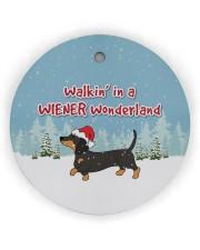 Dachshund Walking In A Wiener Wonderland Circle ornament - single (wood) thumbnail