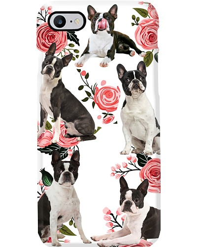 Boston Terrier Beauty Flower Phone Case