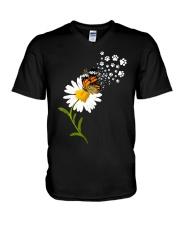 Dog Daisy Butterfly V-Neck T-Shirt thumbnail